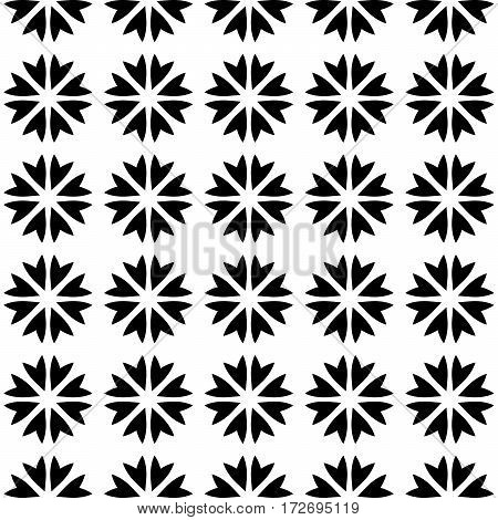 Abstract vector seamless pattern background mosaic of black blooms in linear arrangement. Natura design wallpaper.