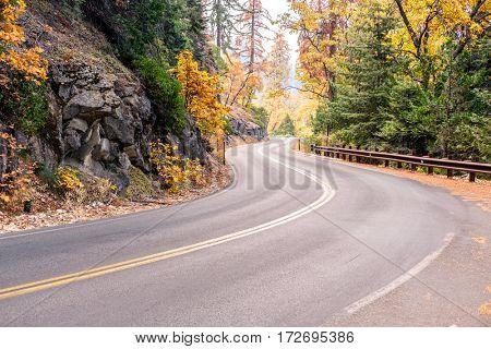 Sequoia National Park Road at autumn. California, United States.