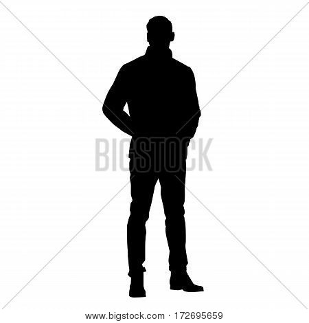 Standing man in jacket with hands in pockets vector silhouette