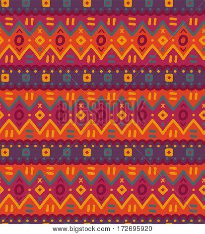 Ethnic textile bright decorative native ornamental striped seamless pattern