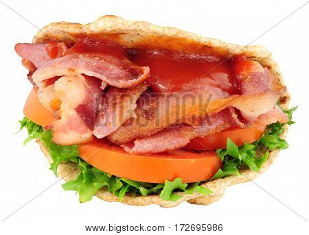 Bacon and salad flatbread sandwich isolated on a white background