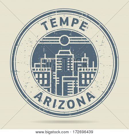 Grunge rubber stamp or label with text Tempe Arizona written inside vector illustration