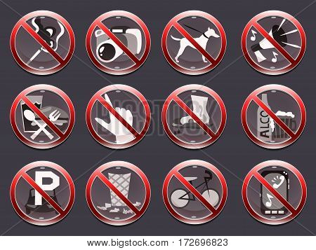 12 crossed out red prohibition signs on the dark background