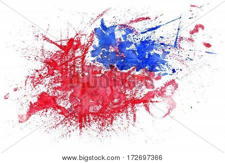 Splash emotional illustration with red and blue color blobs on white background