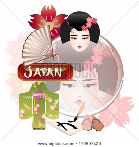 Miscellaneous items of Japanese traditional culture: fan sakura geisha geta kimono hiragana symbol