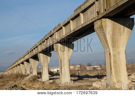 Old abandoned industrial building (bridge ) in Romania