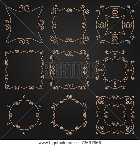 Set Of Decorative Frames And Borders. Mono Line Design Templates. Golden Outline Decor.