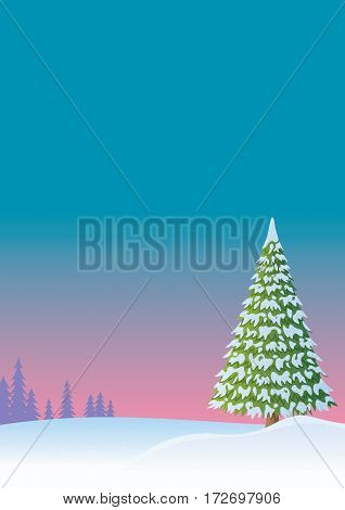Cartoon winter background with fir tree and copyspace.