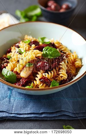 Fusilli with Kalamata Olives, Shallots and Capers