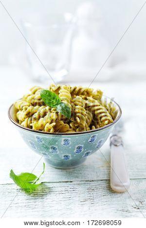 Fusilli Pasta with Green Olive Pesto
