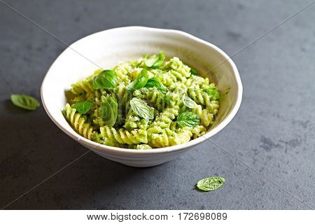 Fusilli Pasta with Basil Pesto
