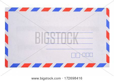 Blank envelope isolated on white background with clipping path.