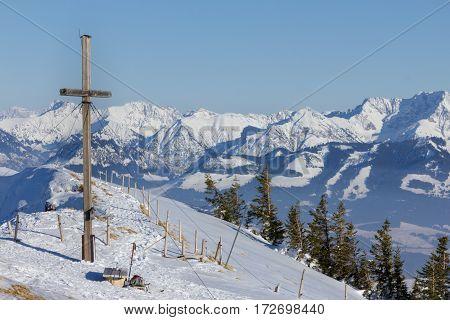 Summit cross of the Stuiben in the Allgauer Alps.