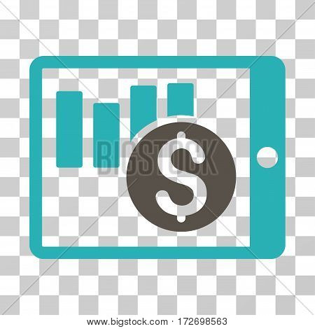 Sales Chart On PDA icon. Vector illustration style is flat iconic bicolor symbol grey and cyan colors transparent background. Designed for web and software interfaces.