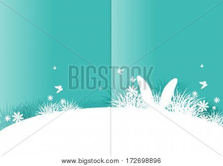 background for Easter. Template for brochure. Rabbit ears sticking out of the grass.