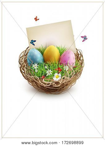 Easter eggs in a wicker nest, green grass and rectangular greeting cards. Isolated on white background. Element for design