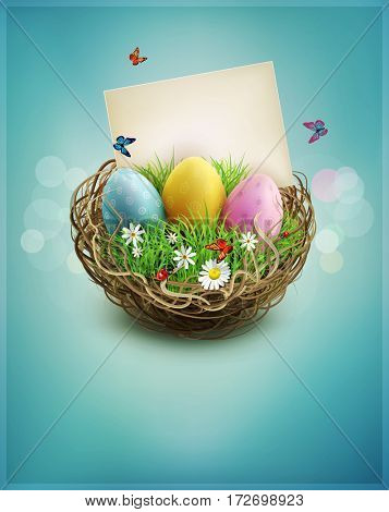 vintage Easter eggs in a wicker nest, green grass and rectangular greeting card on a blue background