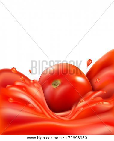 background with splashes, waves of red tomato juice and tomato. isolated on white background