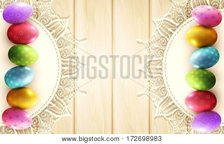 vintage background with a circle of lace and easter eggs on the wooden background