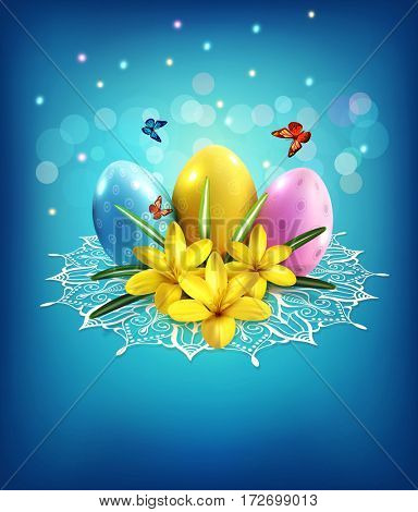 Easter background with eggs, crocus on a blue background and lace