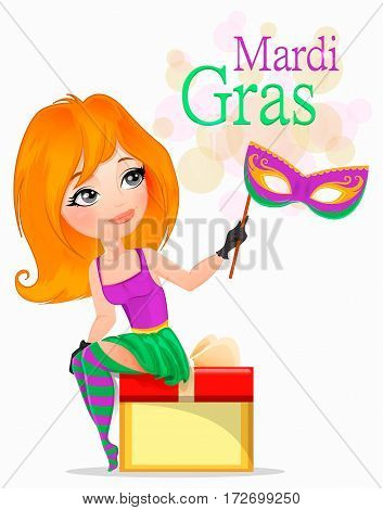 Beautiful girl in Mardi Gras costume sitting on gift box and holding a carnival mask. Vector illustration EPS10
