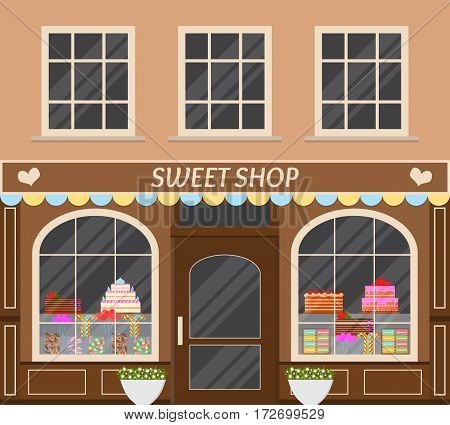 Sweet shop. Street stall of candy. Storefront. Flat style. Vintage architecture. Cakes lollipops Goodies. Vector illustration.