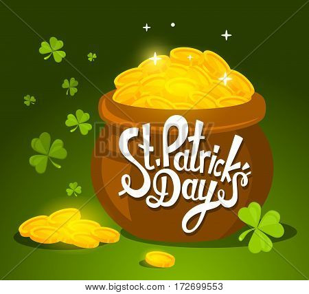 Vector Illustration Of St. Patrick's Day Greeting With Big Pot Of Gold On Green Background.
