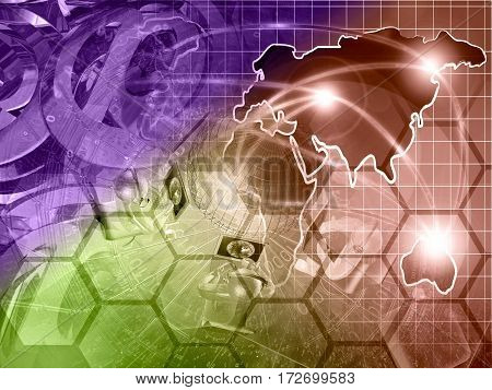 Computer background with globe map mans and mail symbols toned.