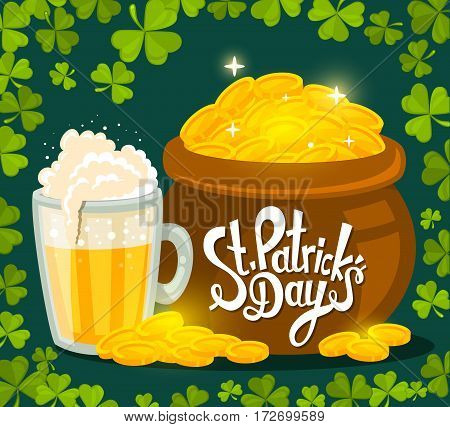 Vector Illustration Of St. Patrick's Day Greeting With Big Pot Of Gold And Beer On Dark Green Backgr