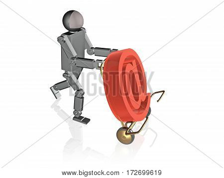 Robot with mail sign on white background 3D illustration.