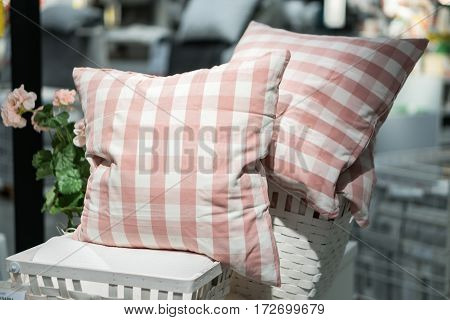 Bed with bed pillows decorative pillows quiltheadboard and nightstand
