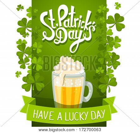Vector Illustration Of St. Patrick's Day Greeting With Big Mug Of Yellow Beer With Clovers And Text