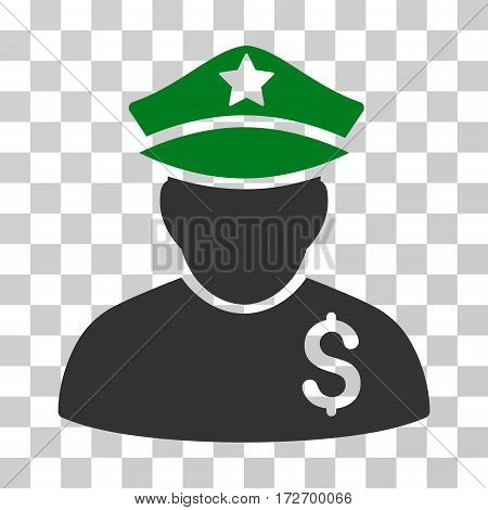 Financial Policeman icon. Vector illustration style is flat iconic bicolor symbol green and gray colors transparent background. Designed for web and software interfaces.