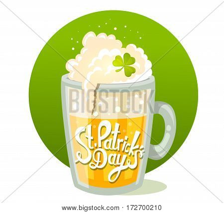Vector Illustration Of St. Patrick's Day Greeting With Big Mug Of Yellow Beer In Circle On Green Bac
