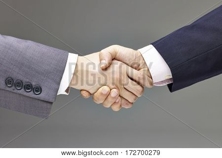 two businessmen in suit shaking hands gray background.