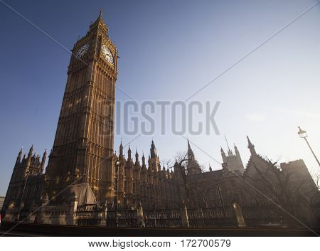 Close up of the clock face of Big Ben in Westminster, London - retro styled photo
