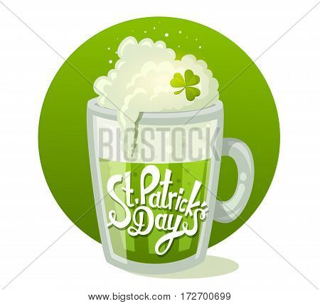 Vector Illustration Of St. Patrick's Day Greeting With Big Mug Of Beer In Circle On Green Background