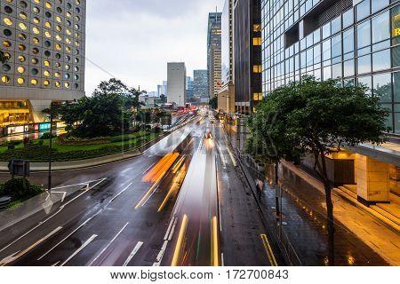 Traffic road in downtown of Hong KongChina.