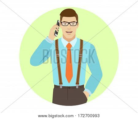 Businessman talking on the mobile phone. A man wearing a tie and suspenders. Portrait of businessman in a flat style. Vector illustration.