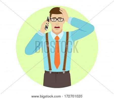 Shocked businessman talking on the mobile phone and grabbed his head. A man wearing a tie and suspenders. Portrait of businessman in a flat style. Vector illustration.