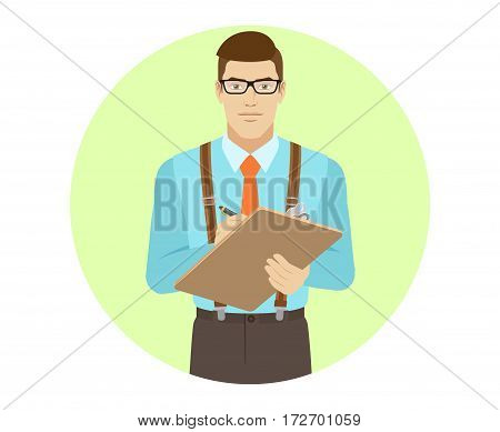 Businessman writes on the clipboard closeup. A man wearing a tie and suspenders. Portrait of businessman in a flat style. Vector illustration.