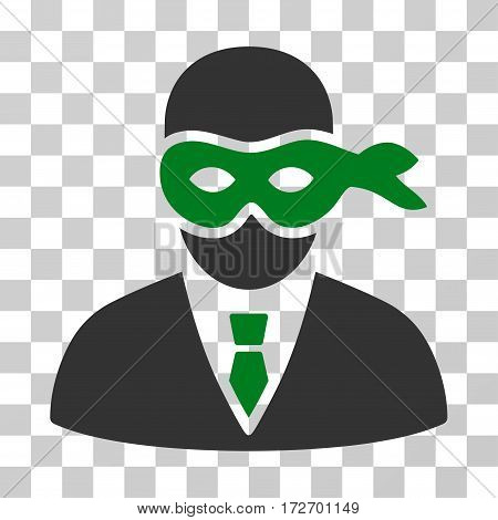 Masked Thief icon. Vector illustration style is flat iconic bicolor symbol green and gray colors transparent background. Designed for web and software interfaces.