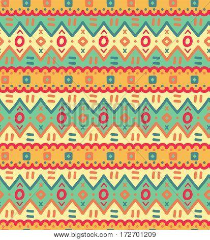 Ethnic textile decorative ornamental striped seamless pattern in vector