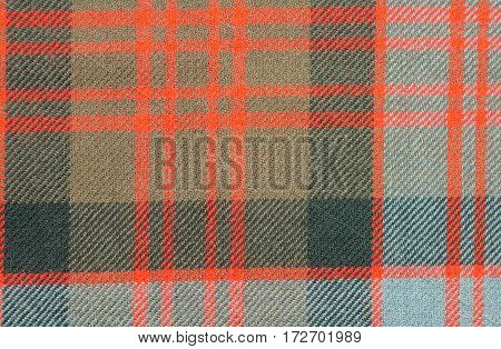 Traditional Scottish MacDonald clan pattern tartan wool fabric