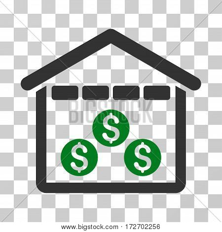 Money Depository icon. Vector illustration style is flat iconic bicolor symbol green and gray colors transparent background. Designed for web and software interfaces.
