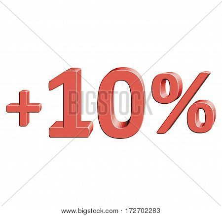 +10% Vector illustration with 3D effect Percentage rate icon on a white background Plus ten percent Discount Tag Special Offer Label Sale Symbol