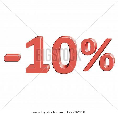 -10% Vector illustration with 3D effect Percentage rate icon on a white background Minus ten percent Discount Tag Special Offer Label Sale Symbol
