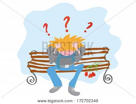 vector illustration with distressed man in jeans sitting on a bench holding his head / deceived hopes not taken place Dating
