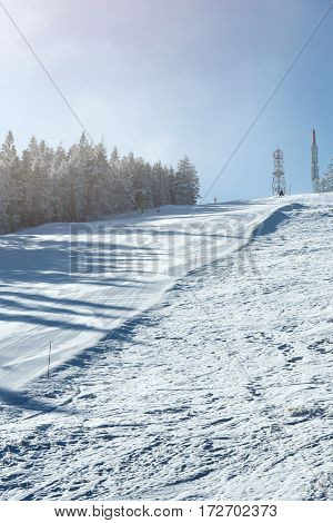downhill skiing, winter sport on the mountain landscape
