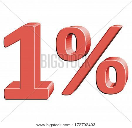 1% Vector illustration with 3D effect Percentage rate icon on a white background One percent Discount Tag Special Offer Label Sale Symbol